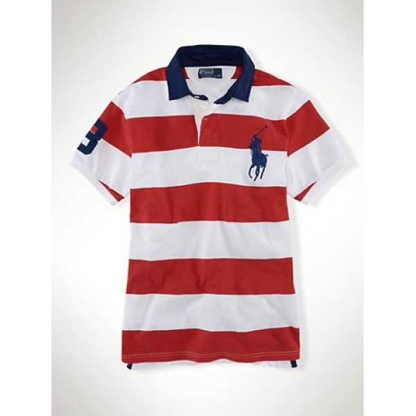 Ralph Lauren Polo Shirts Wide stripe Pony,USA Discount Online Sale