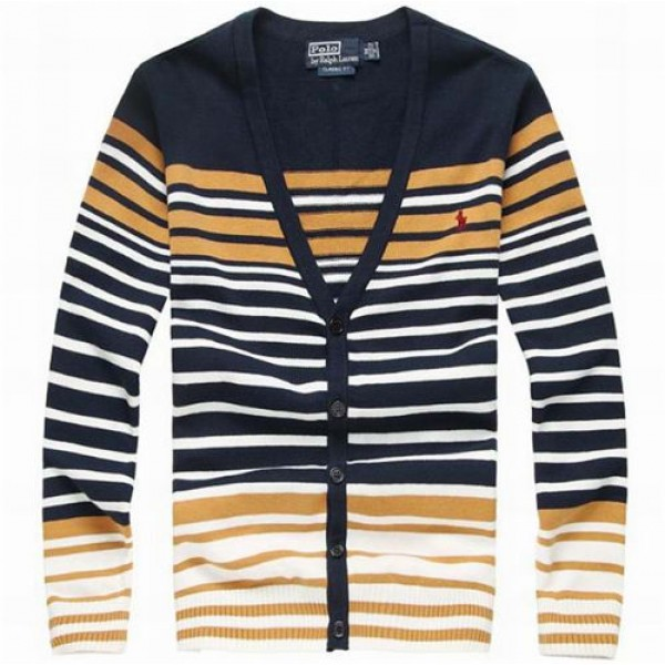 Polo Deep V Neck Striped Sweater 01