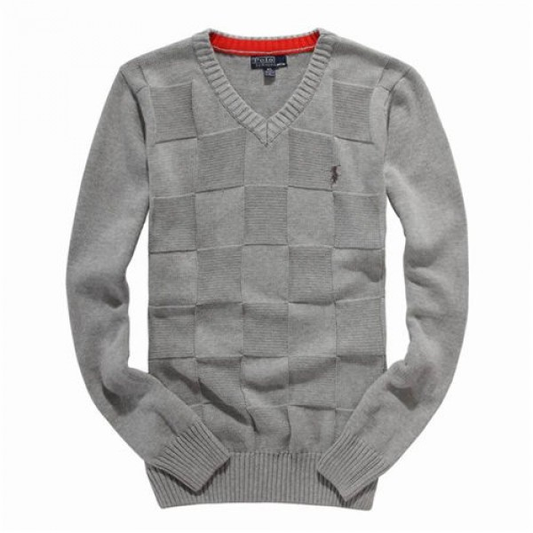 Polo Ralph Lauren Mens Sweaters Solid Giant Check Grey