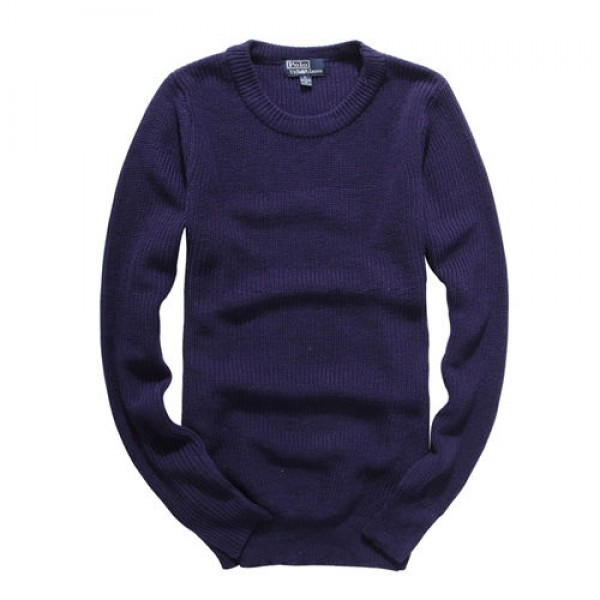 Polo Ralph Lauren Mens Sweaters Solid Round Neck Blue
