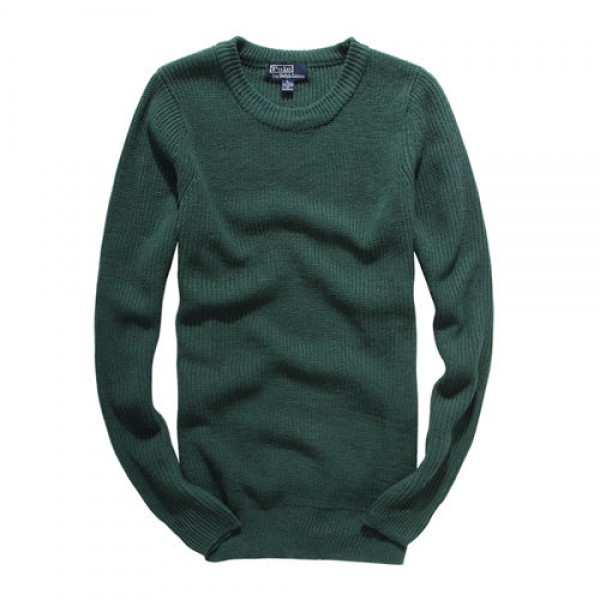 Polo Ralph Lauren Mens Sweaters Solid Round Neck Green