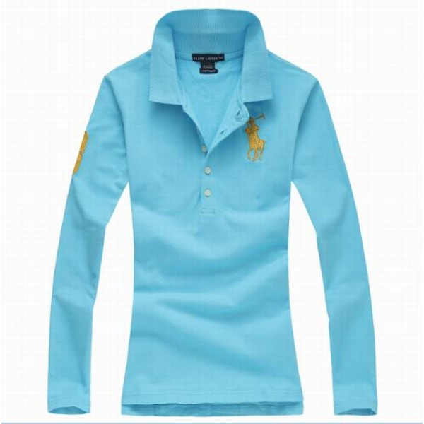 Polo Ralph Lauren Womens Long Sleeved Solid Big Pony Polo Babyblue