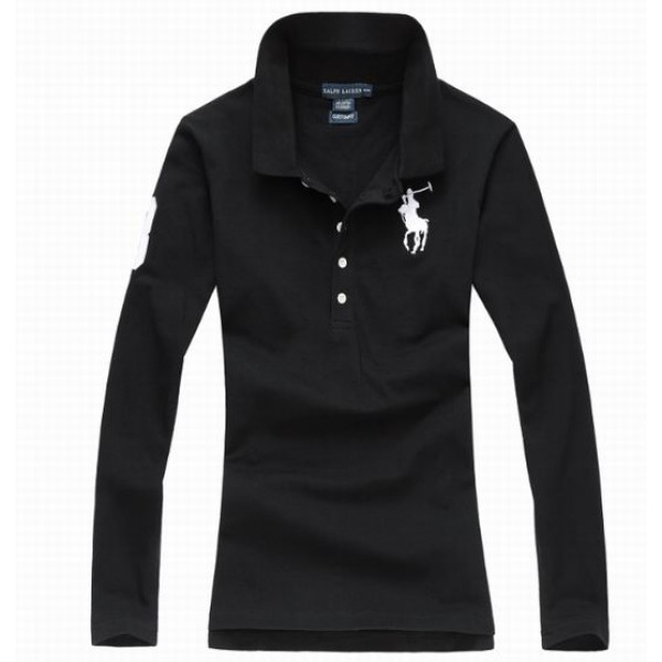 Polo Ralph Lauren Womens Long Sleeved Solid Big Pony Polo Black White