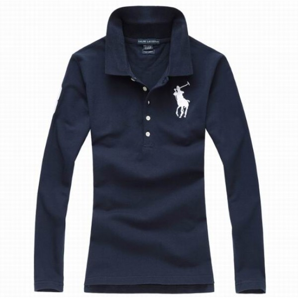 Polo Ralph Lauren Womens Long Sleeved Solid Big Pony Polo Blue White