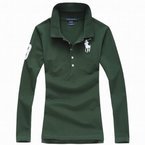 Polo Ralph Lauren Womens Long Sleeved Solid Big Pony Polo Green