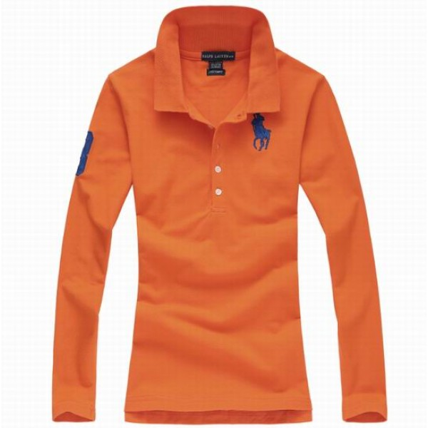 Polo Ralph Lauren Womens Long Sleeved Solid Big Pony Polo Orange