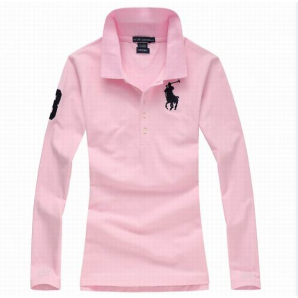 Polo Ralph Lauren Womens Long Sleeved Solid Big Pony Polo Pink