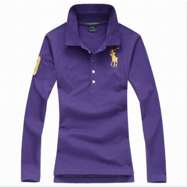 Polo Ralph Lauren Womens Long Sleeved Solid Big Pony Polo Purple