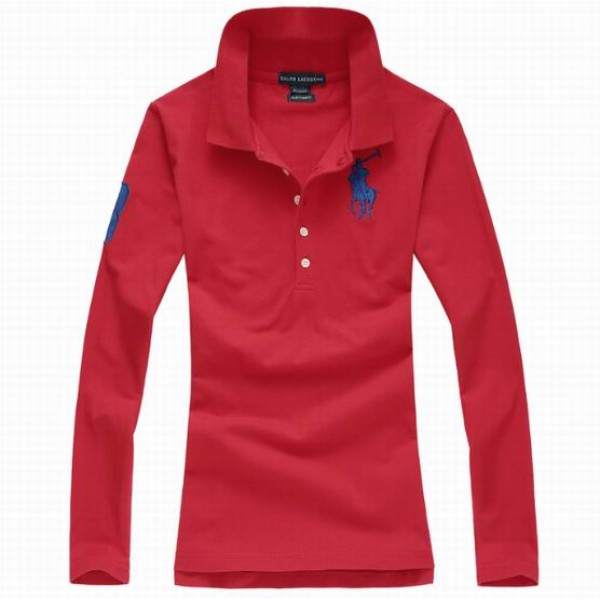 Polo Ralph Lauren Womens Long Sleeved Solid Big Pony Polo Red
