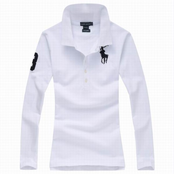 Polo Ralph Lauren Womens Long Sleeved Solid Big Pony Polo White