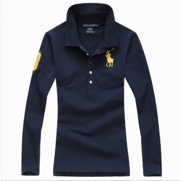 Polo Ralph Lauren Womens Long Sleeved Solid Big Pony Polo Yellow Blue
