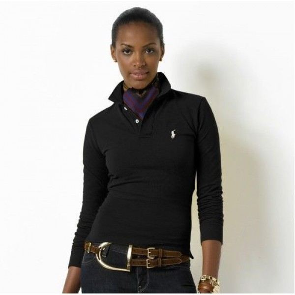 Polo Ralph Lauren Womens Long Sleeved Solid Polo Black