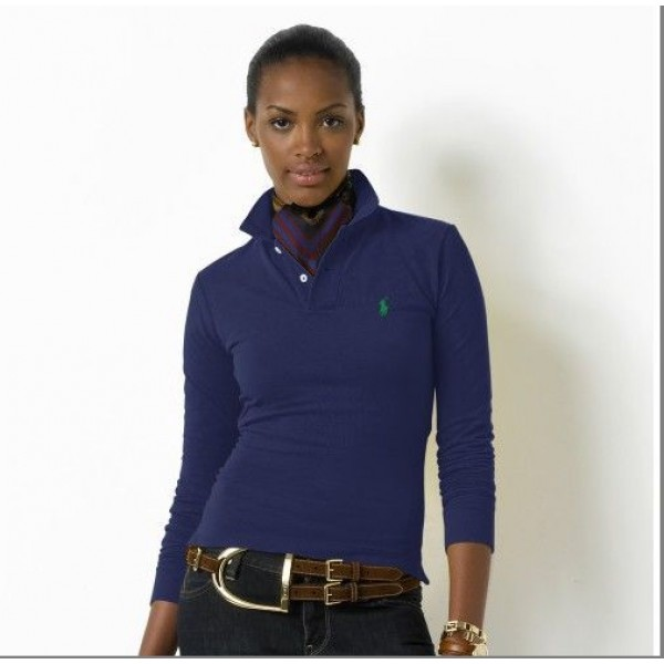Polo Ralph Lauren Womens Long Sleeved Solid Polo Deep Blue