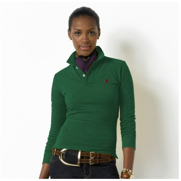 Polo Ralph Lauren Womens Long Sleeved Solid Polo Green