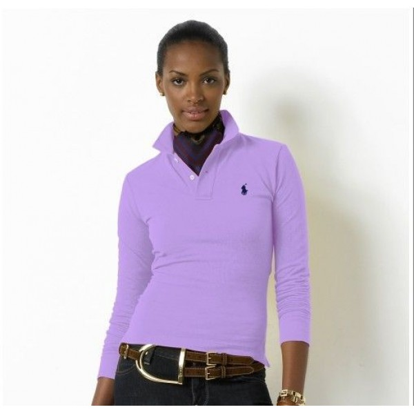 Polo Ralph Lauren Womens Long Sleeved Solid Polo Purple