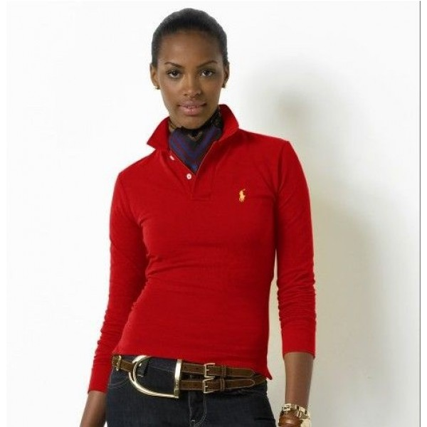 Polo Ralph Lauren Womens Long Sleeved Solid Polo Red