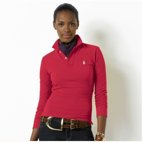 Polo Ralph Lauren Womens Long Sleeved Solid Polo RoseRed
