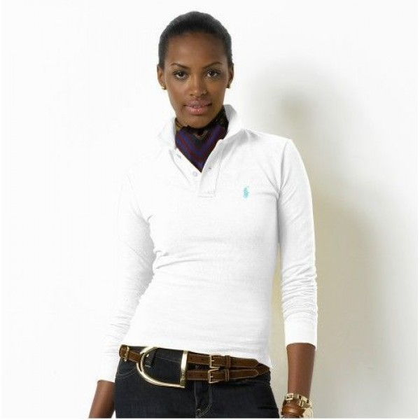 Polo Ralph Lauren Womens Long Sleeved Solid Polo White