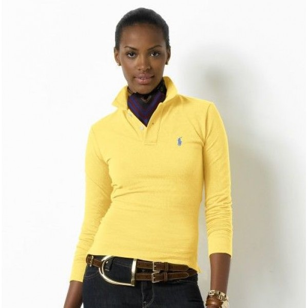 Polo Ralph Lauren Womens Long Sleeved Solid Polo Yellow