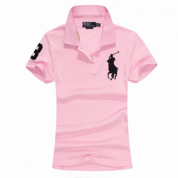 Women's Ralph Lauren Polo Shirts Big Pony 3 Words Pink