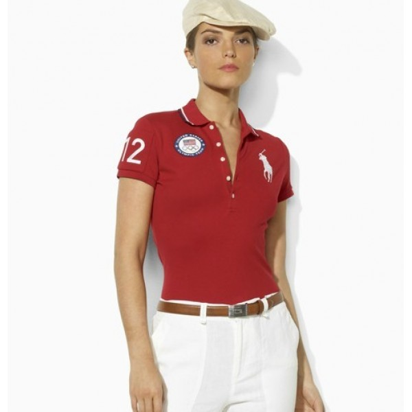 Women's Ralph Lauren Polo Shirts Olympic Polo Red