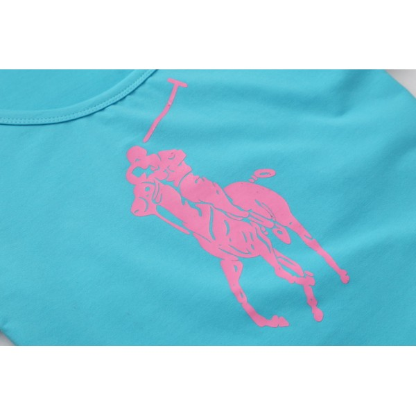 Polo Ralph Lauren Womens Big Pony T shirts Baby Blue