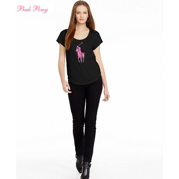Polo Ralph Lauren Womens Big Pony T shirts Black