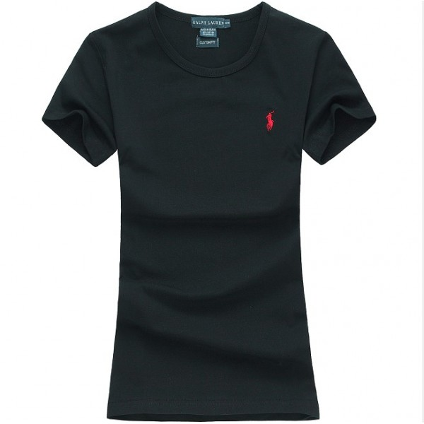 Polo Ralph Lauren Womens Small Pony Logo Polo Black Red Logo